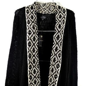 LUCKY BRAND Black Long Cardigan Sweater Wrap